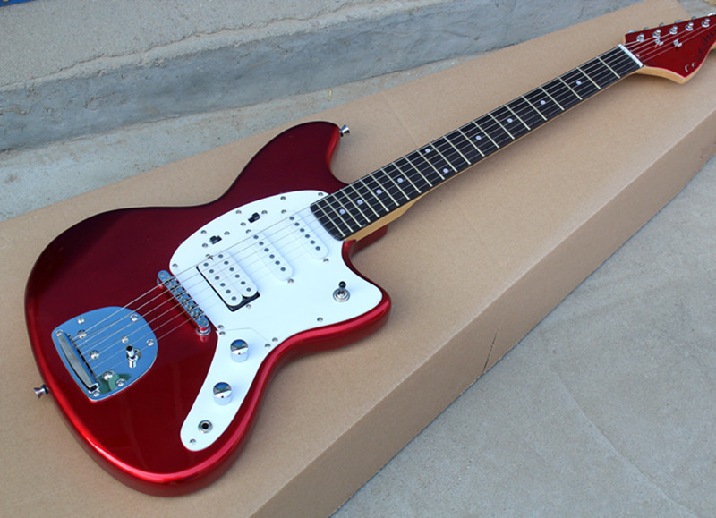 factory wholesale metal red body electric guitar with ssh pickups white pickguard rosewood. Black Bedroom Furniture Sets. Home Design Ideas