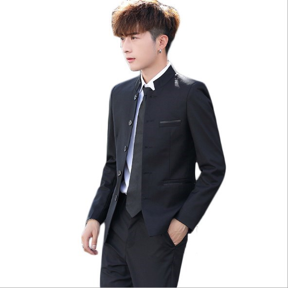Mens Slim Fit Zhongshan Pant Suits Black Blue Red White Wedding Pantsuits For Men Two 2 Piece Set Jacket With Trousers Plus Size