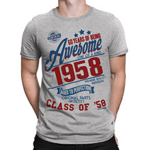 60 Years Of Being AWESOME Mens 60th T-Shirt Class of 1958 Birthday Gift Retro New T Shirts Funny Tops Tee  free shipping