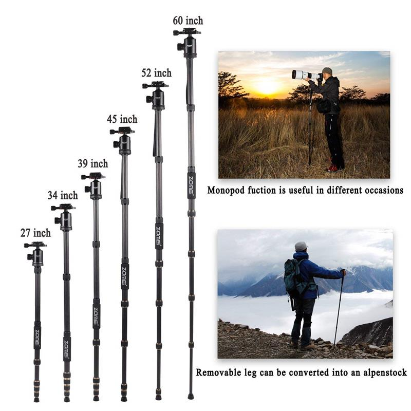 ZOMEI Z699 Travel Camera Tripod Magnesium Aluminum Alloy Monopod 360 degree Ball Head -5