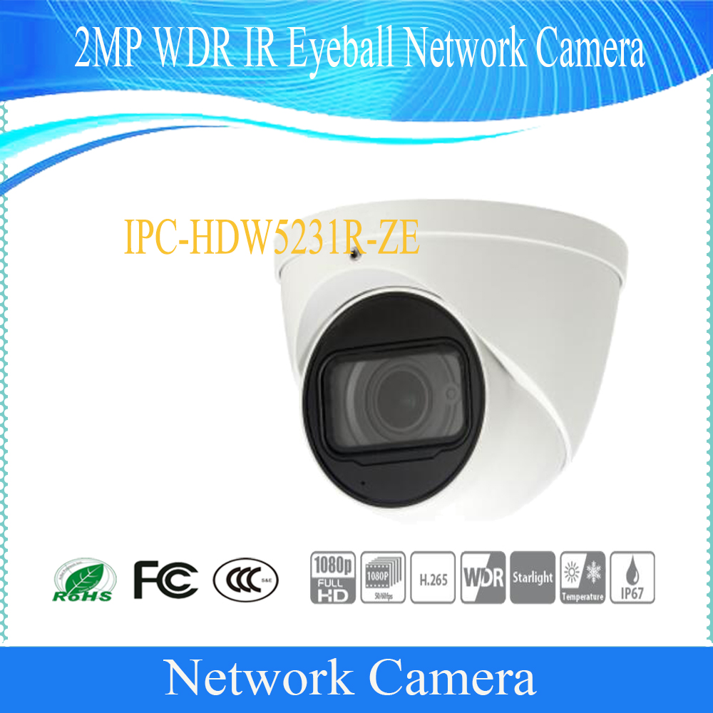 Free Shipping DAHUA Security IP Camera 2MP WDR IR Eyeball Network Camera with POE IP67 Without Logo IPC-HDW5231R-ZE free shipping dahua cctv camera 4k 8mp wdr ir mini bullet network camera ip67 with poe without logo ipc hfw4831e se
