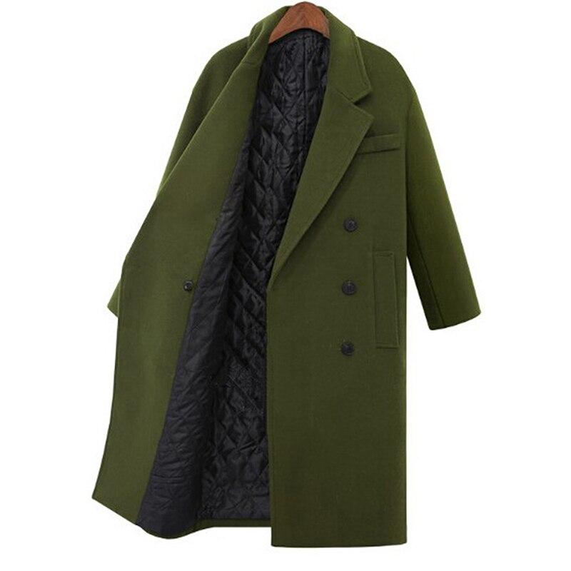 Женское шерстяное пальто, осенне зимнее плотное теплое шерстяное пальто, длинное Однотонное шерстяное пальто большого размера, 2019|Пальто|   | АлиЭкспресс