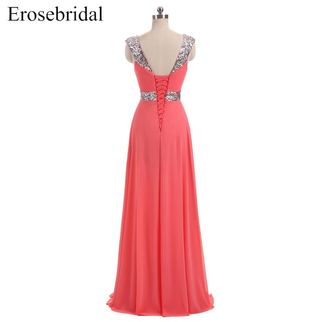[Clearance Sale] Cheap Evening Dress Long Chiffon Sequined Formal Women Party Prom Wear with Lace Up 48 Hours Shipping