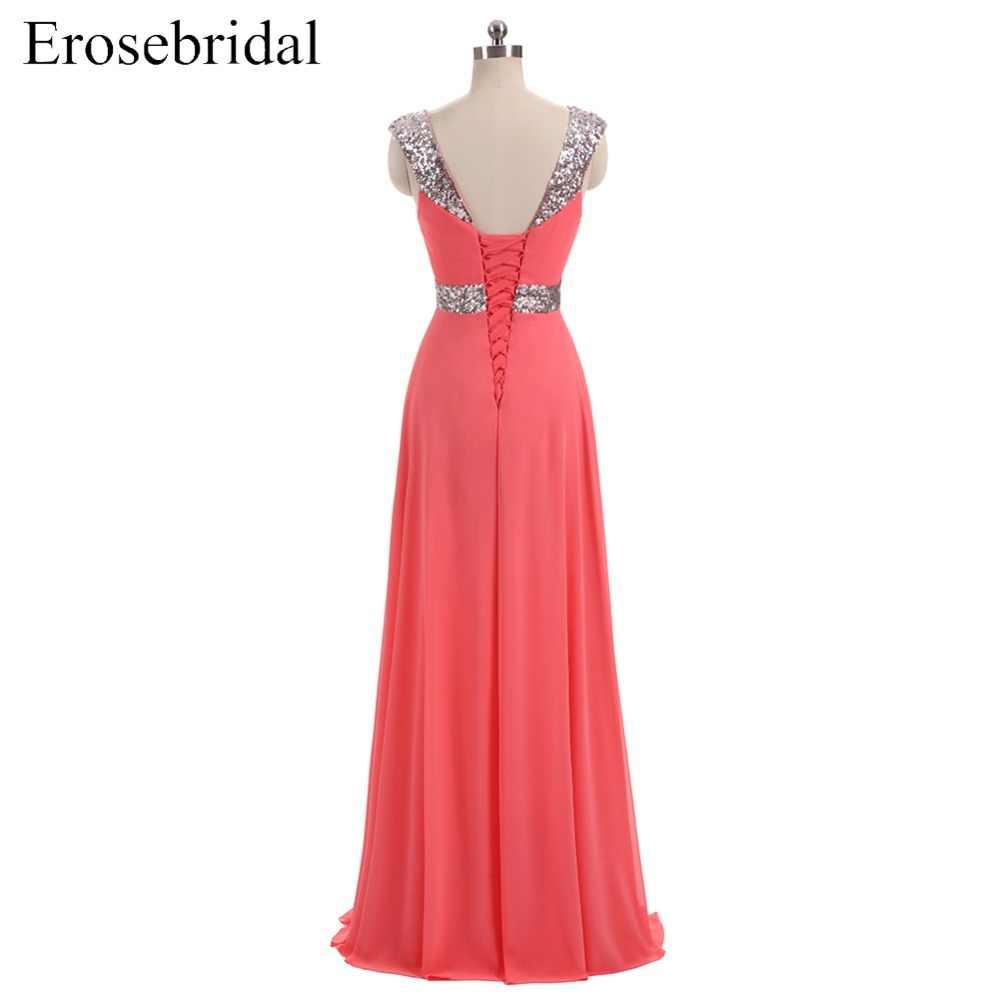 [Czyszczenie magazynu wyprzedaż] wieczorowa sukienka z szyfonu długa elegancka, długa suknia wieczorowa z cekinami koronki z kryształkami z powrotem kochanie