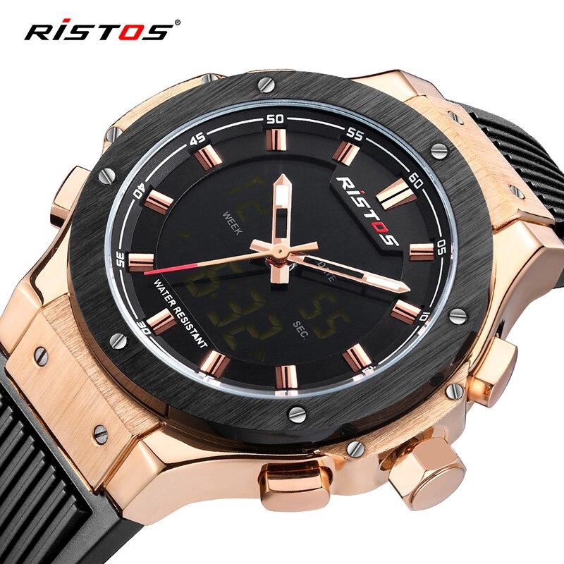 2018 Ristos Marke Neue Mode Multifunktions Männer Armee Sport Uhr Chronograph Digitale Männlichen Armbanduhren Uhren Masculino Hombre