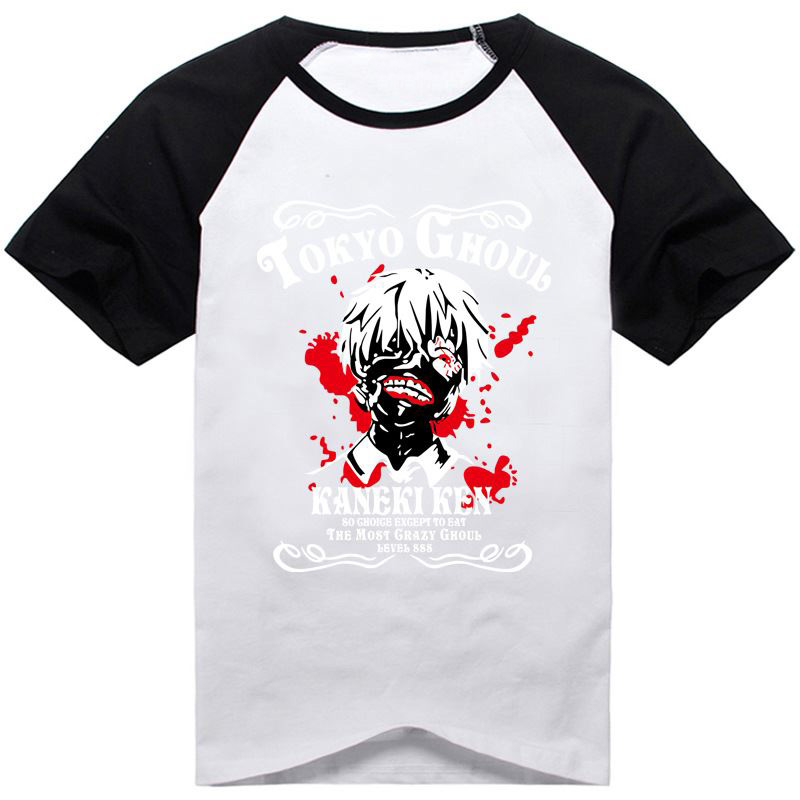 14Colors Tokyo Ghoul Kaneki Ken Printed T-shirt Cosplay Costume Short Sleeve Cotton Tee Shirt Daily Casual Tops