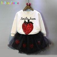 الطفلات مجموعات أزياء الأطفال الملابس الفراولة تصميم أعلى + توتو تنورة 2 قطع ملابس الاطفال الدانتيل 0-7Years/ربيع الخريف BC1261