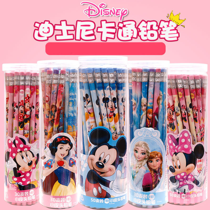 30/50 Pcs/set Cartoon Mickey Minnie Barreled Wooden Pencil Disney Snow White Frozen Student School Supplies Pencils For School