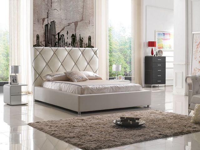 2017 nueva alta cabecera contemporánea moderna cama para dormir a cuadros de cuero muebles de dormitorio de matrimonio Hecho en China
