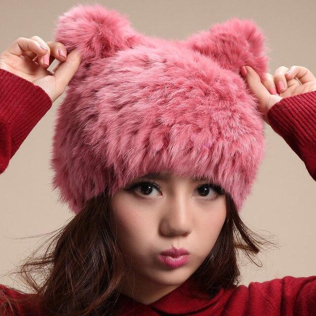 High Quality Winter Cap Women Fur Hats Cat Ear Female Warm Stretch Patchwork Hats Girl Cut Knitting Skullies Beanies Fashion