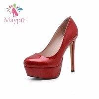 MAYPIE Woman Shoes Super High Heels Platform 13 5CM Sexy Red Gold Green Pumps Thin Heel