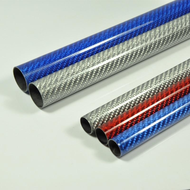 2 pcs/lot Couleur Tube de Fiber de Carbone 3 k Brillant Surface 1000mm Longueur Bleu Rouge Couleur Argent