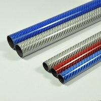 2pcs/lot Color Carbon Fiber Tube 3K Glossy Surface 1000mm Length Blue Red Silver Color
