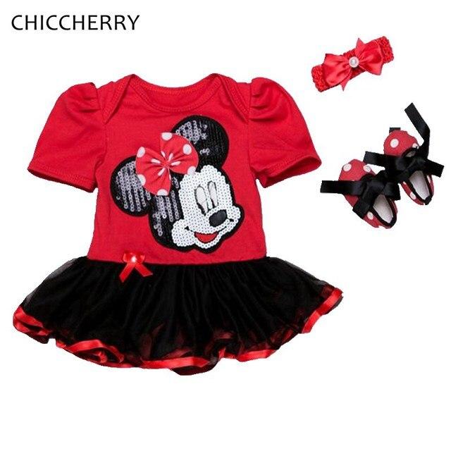4fd6b82715501 Paillettes brillantes Minnie bébé Fille vêtements dentelle barboteuse robe  bandeau chaussures nouveau-né Tutu ensembles
