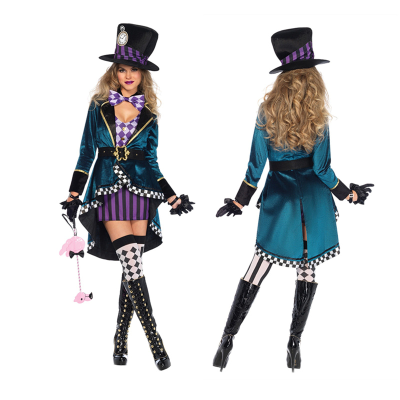 2019 Halloween <font><b>Sexy</b></font> Dress <font><b>in</b></font> <font><b>Wonderland</b></font> <font><b>Costumes</b></font> Cosplay Women Girls <font><b>Alice</b></font> Princess Quess Female Blue Coat And Purple Skirt image