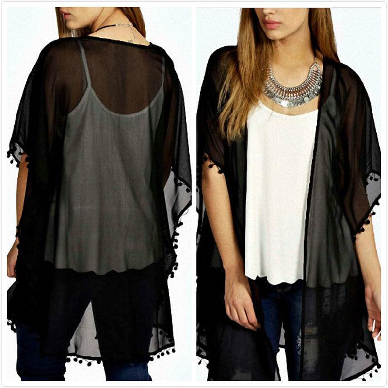 Women Chiffon Cardigan Boho Short Sleeve Plus Size Long Blouse Solid Side Split Perspective Shirt