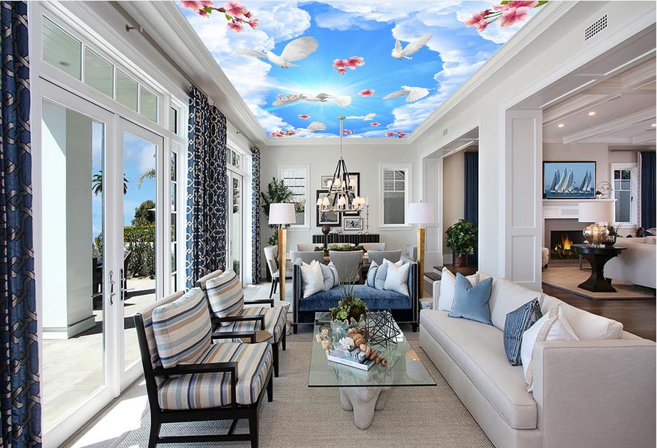 custom 3d ceiling Blue sky and white clouds dream sky ceiling murals wallpaper 3d ceiling large wall murals living room high definition sky blue sky ceiling murals landscape wallpaper living room bedroom 3d wallpaper for ceiling