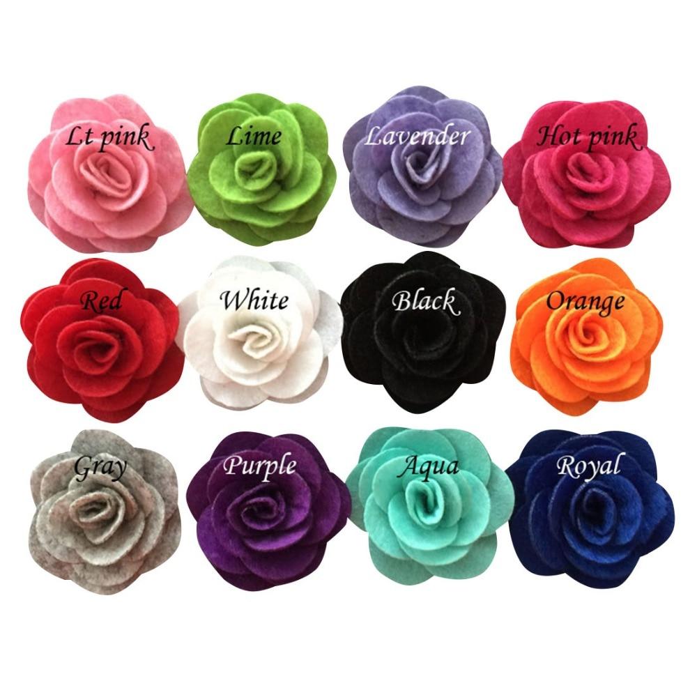 Cute Small Felt Fabric Rose Flower 2inch Children DIY Chiffon Hair Flower For Headbands Clips 12pcs/lot