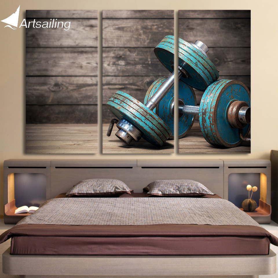 HD print 3 piece Canvas art Dumbbells fitness bodybuilding gym painting wall art free shipping CU