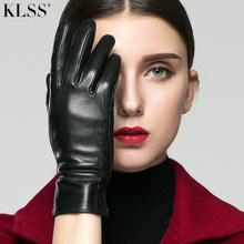 KLSS Genuine Leather Women Gloves Autumn Winter Plus Warm Velvet High Quality Goatskin Glove Fashion Elegant Lady Gloves 2319
