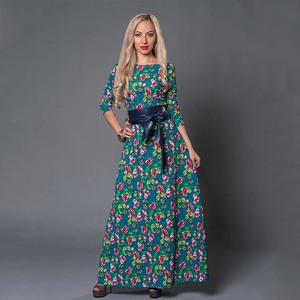 Image 2 - S 。味クリアランス販売の女性のプリントロングドレスエレガントな 3/4 スリーブ O ネック Vestidos 女性女性の秋のドレス