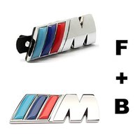 2pcs Set Car Styling Accessories Chromed Emblem Badge Decal Sticker M Front Grille Blue Back For