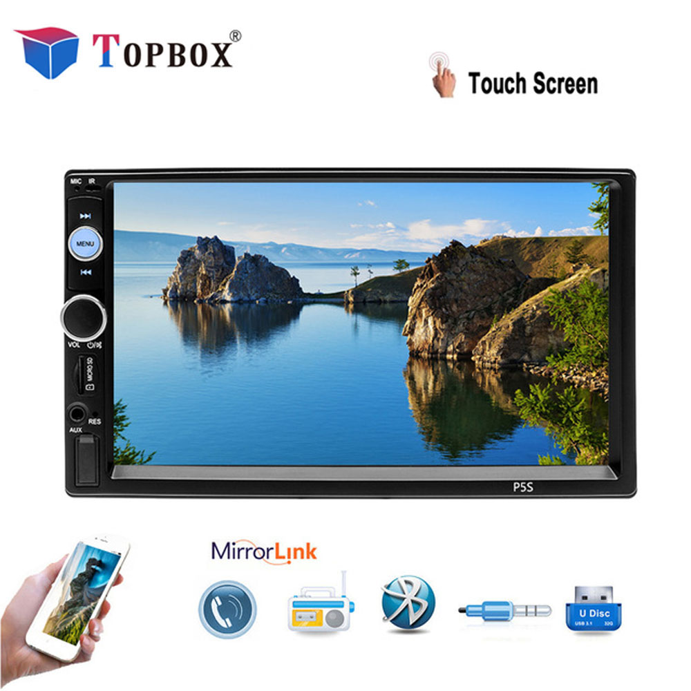 "Topbox 2din Car Radio 7"" Touch Screen Autoradio Media MP5 Player Support FM/USB/AUX Rearview Camera with IOS/Android Mirror Link"