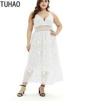 TUHAO Women Dresses Bohemian Dresses White Black Lace Summer Dress Long Maxi Dress plus size Sexy Elegant Ladies Vestidos BCFS