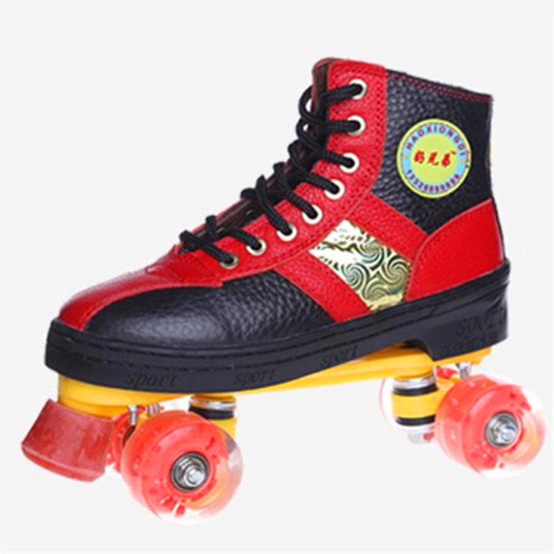 All Seasons Double Roller Skates Full Grain Leather Two Line Roller Skate Patins Unisex Skates Patines Adult Skating Shoes
