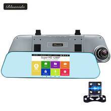 Bluavido 5″ IPS Touch Car Rearview Mirror DVR Night Vision ADAS Full HD 1080P Car Video Camera Recorder Dual Lens 1296P Dashcam