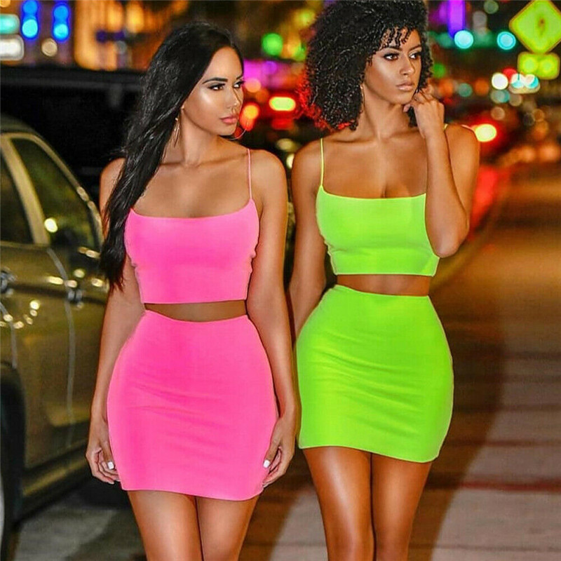 Women Set Sexy 2 Piece Outfits Women Bodycon Dress Crop Top And Skirt Set Bandage Dresses Party Clothes Set