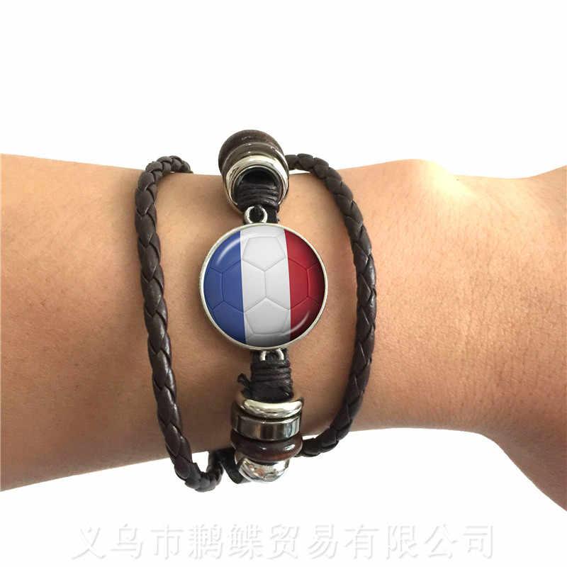 Pulsera de cuero de fútbol clásico Bandera Nacional Francia, Inglaterra, Irán, España, Tailandia, Arabia Saudita, regalo de recuerdos de fútbol