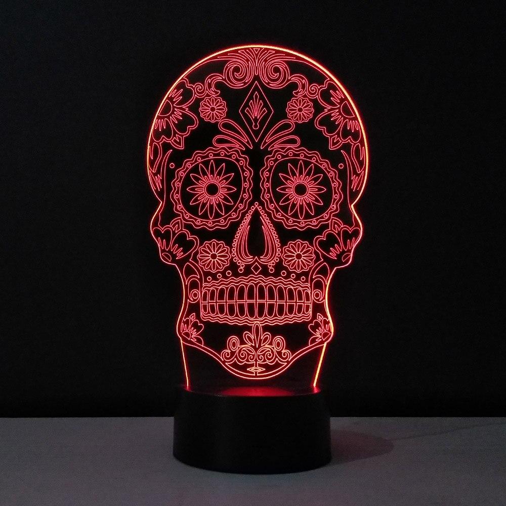 череп 3d иллюзия лампа китайский светодиодные светильники акриловых
