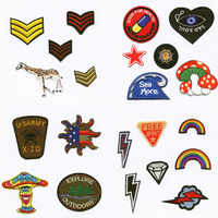 Rainbow Lightning Weather Patchwork Patch Embroidered Patches For Clothing Iron-On For Close Shoes Bags Badges Embroidery