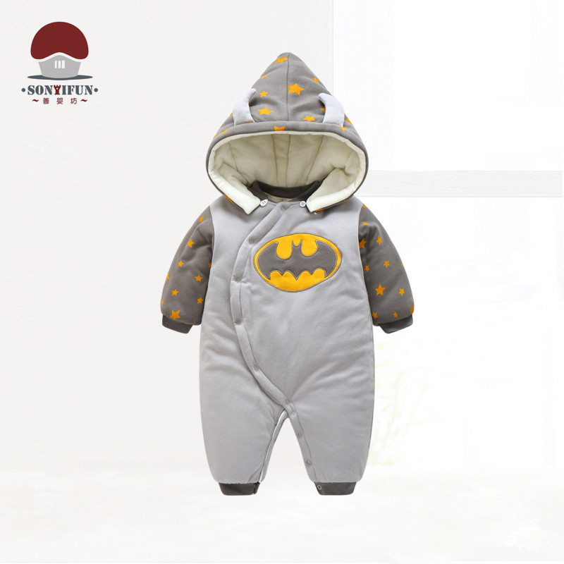 Shanyingfang Baby Boys Hooded Winter Rompers Infant Warm Cartoon Batman Jumpsuits Toddler Fashion Clothes Newborn Baby Clothing new 2016 autumn winter kids jumpsuits newborn baby clothes infant hooded cotton rompers baby boys striped monkey coveralls