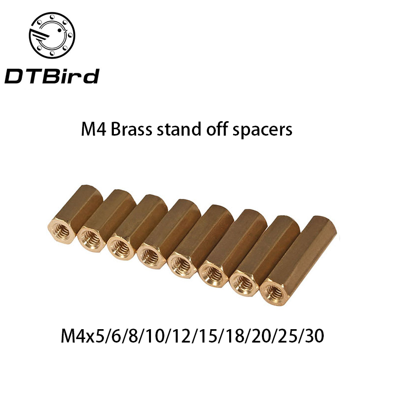 100pcs 4mm Thread M4 Hex Brass Standoff spacer Female to Spacing Screws Double pass Hex Long Nuts M4*6/8/10/12/15/20/25/30mm m2 3 3 1pcs brass standoff 3mm spacer standard male female brass standoffs metric thread column high quality 1 piece sale