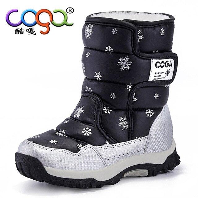 Для мальчиков и девочек зимние сапоги зимние печать теплые полусапожки детская повседневная обувь Botte Enfant FIlle черный фиолетовый розовый детская обувь без каблука 26-38