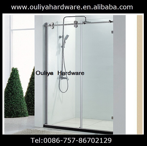 Free Shipping Stainless Steel Frameless Glass Sliding Shower Door