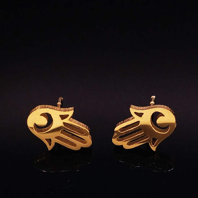5a71372e78886 6PCS Wholesale Fashion Small Hamsa Hand Stainless Steel Earrings Gold Color  Earrings for Women Jewelry bisuteria mujer E612418