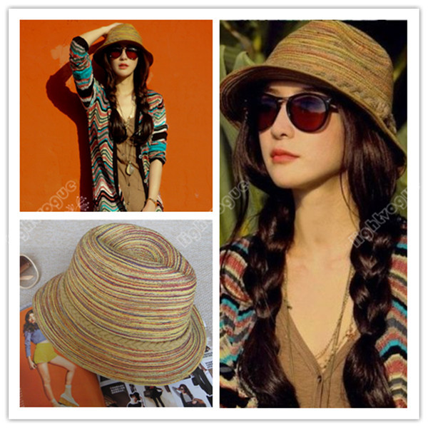 UK Womens Ladies Colorful Striped Straw Beach Sun Hat Summer Cap Wide Brim  0082 3d8ef56959b