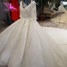 AIJINGYU Hochzeit Kleider China Shiny Weiß Neueste Stil Hochzeit Plus Größe Spitze Kappe Nova Kleid Brautkleid Online Verkauf