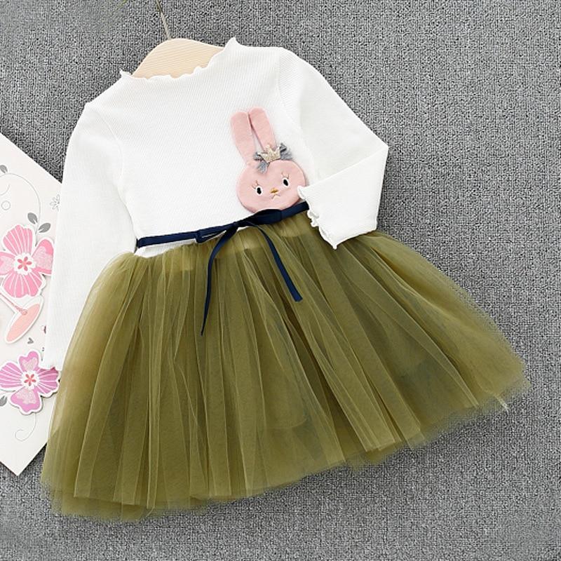 Toddler Girls Fancy Princess Tutu Dress 1 year birthday gift Double Layers Fluffy Baby Dress cartoon Rabbit Clothing for girls