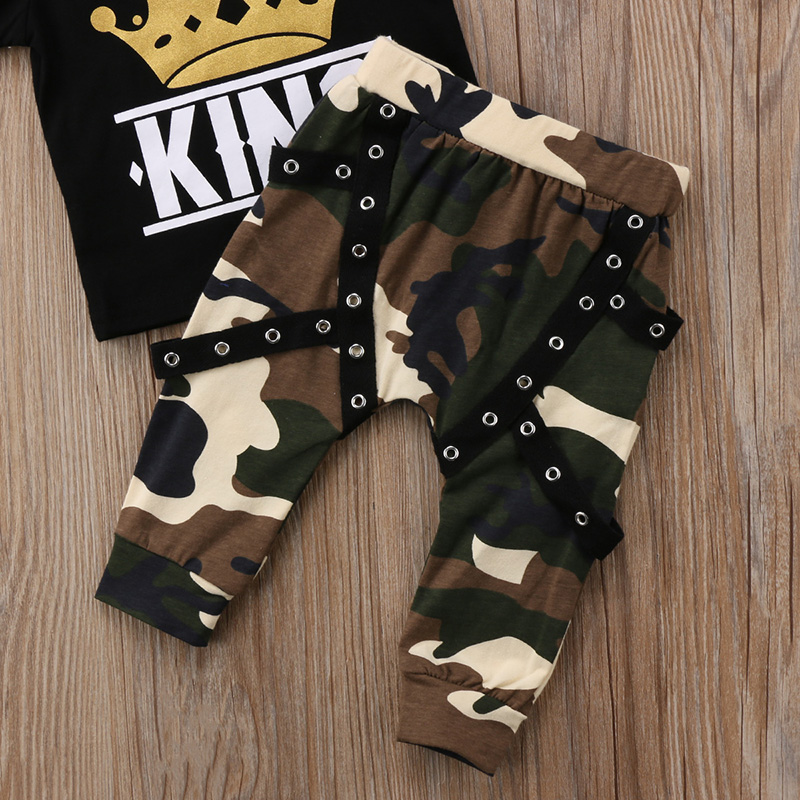 Mother & Kids Official Website Casual Newborn Kids Baby Boy Clothes Short Sleeve King Crown Print Tops T-shirt Camo Pants Outfits Set Cotton Clothes