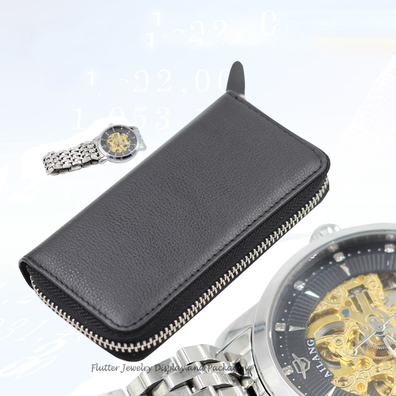 High Quality Genuine Leather Protable Black Watch Storage Box Ziplock Bag Watch Case Leather Purse Travel