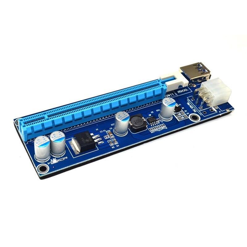 Расширитель Riser 008C PCI-E с светодиодный, Райзер PCI-E с 1X на 16X кабелем, питание USB 3,0 SATA на 6 контактов для майнинга Antminer