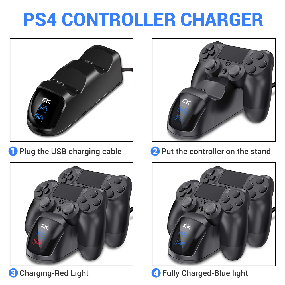 100 Original Newest Fast Charger Dock Dual USB Charging Stand for Sony PlayStation PS4 Controller Fast Charger in Chargers from Consumer Electronics