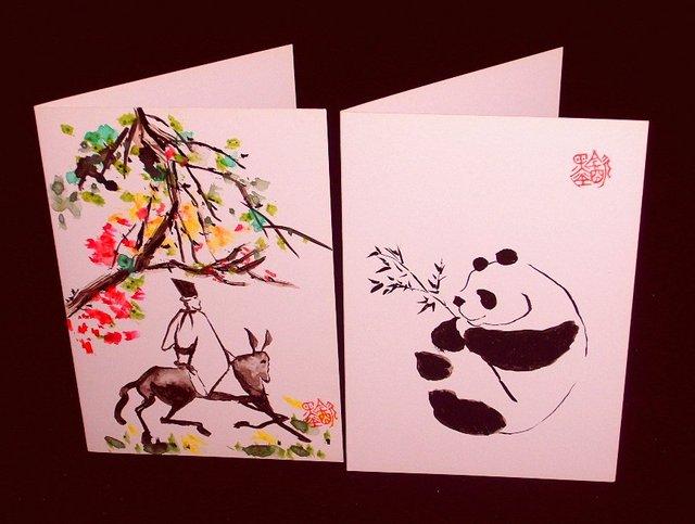 Greeting card handmade handpainted original chinese painting love greeting card handmade handpainted original chinese painting love gift art panda birthday person m4hsunfo