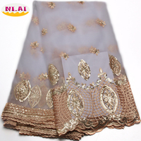 African Lace Fabric 2016 High Quality Lace White Color With Gold Sequins 5yards French George Net