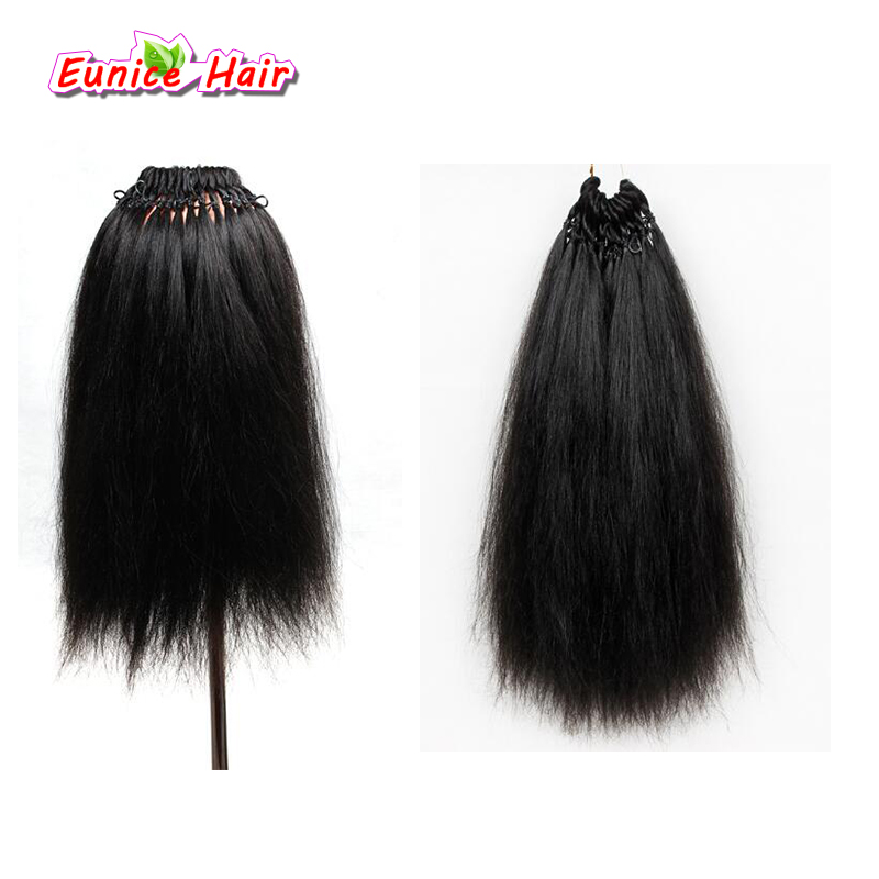 Pre-looped Yaki Straight Hair 100g Bundles 18inch Synthetic Hair Extension Natural Color Coarse Yaki Hair Bohemian