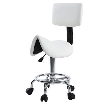 Saddle Chair Dental Roll Chair Saddle PU Leather Dentist Spa Rolling Stool with Back Support for Beauty Tattoo